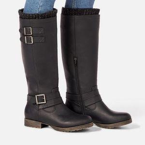 JustFab Rubie Sweater Cuff Boots, Black, New in Bo